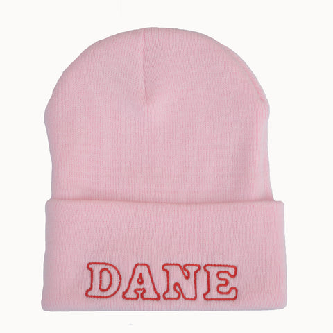 Adult Knit Beanie - DANE, pink & red