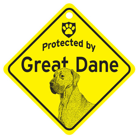 Protected By Great Dane Sign - natural