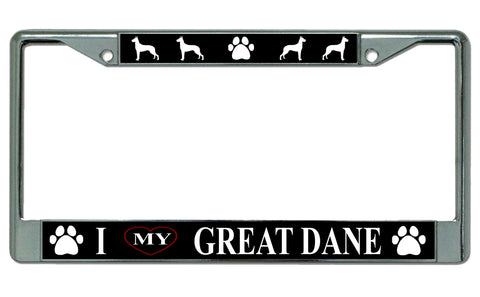 I love My Great Dane License Plate Frame