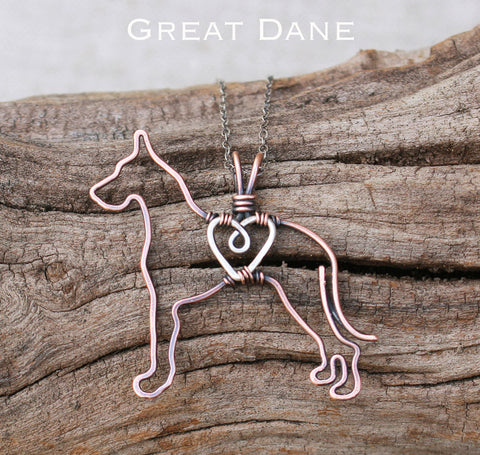"""Copper Great Dane Pendant with Sterling Silver Heart & Chain"""