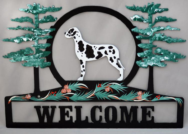 Hand Painted Great Dane Welcome Sign - Harlequin