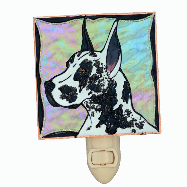 """Stained Glass Great Dane Night Light"" - Harlequin Dane, w/clear background"