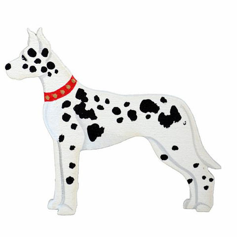 Hand Painted Wooden Great Dane Magnets - Harlequin