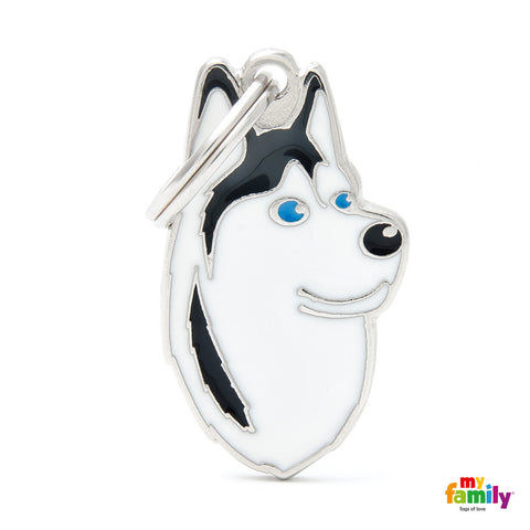 Siberian Husky Black & White Tag