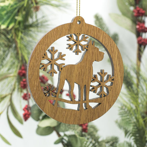 """Great Dane White Oak Carved Ornament"""