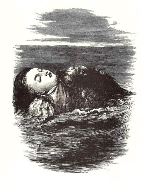Dog Saving a Child from Drowning, Blank Note Card