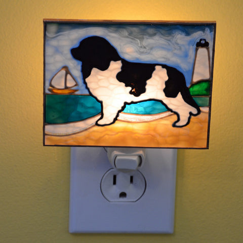 """Stained Glass Landseer Night Light"""