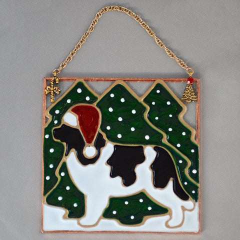 Stained Glass Landseer Newf Ornament with Trees