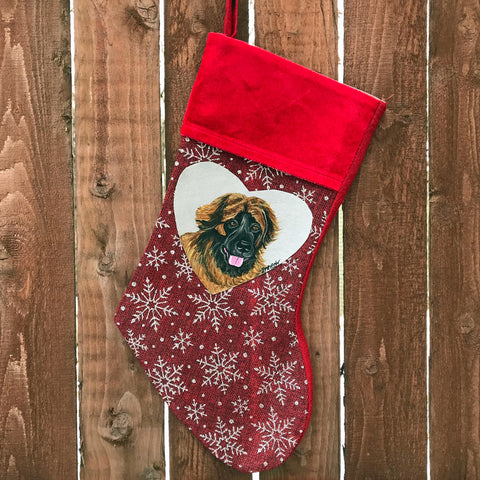 Hand Painted Leonberger Christmas Stocking