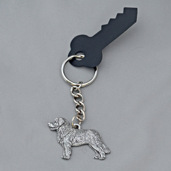 Antiqued Pewter Leonberger Keychain
