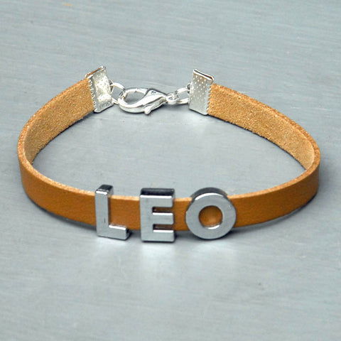 """LEO"" charm/friendship bracelet - 7.5 inches"