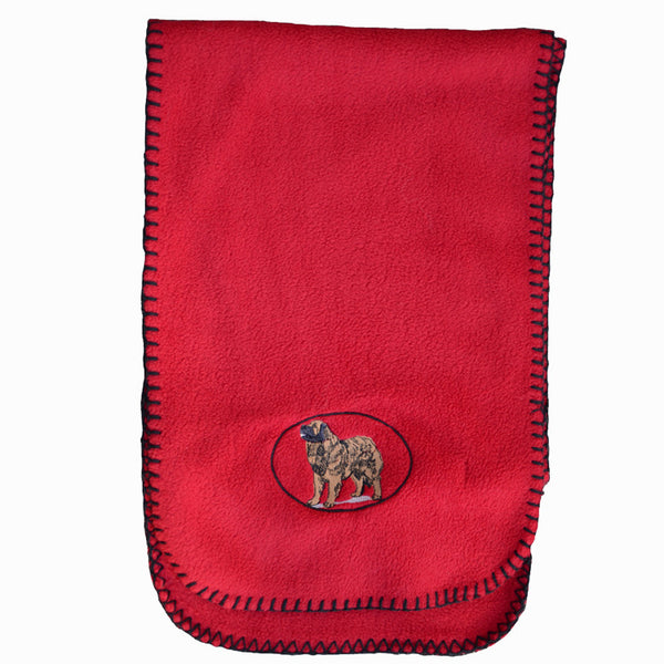 Embroidered Leo Fleece Scarf