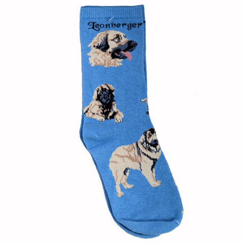 """Leonberger Socks on Blue"""