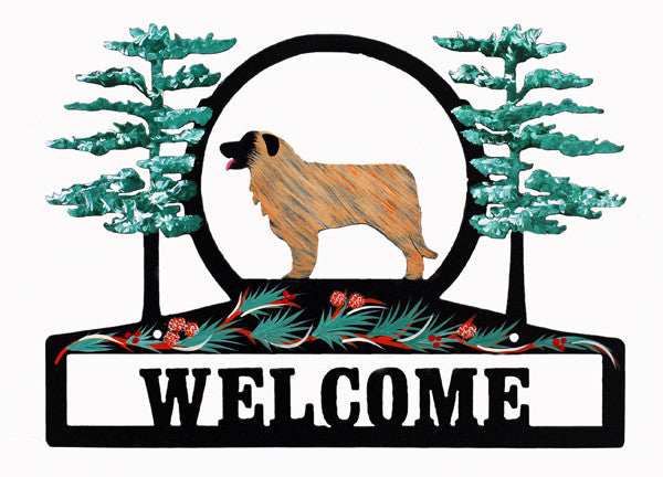 Hand Painted Leonberger Welcome Sign