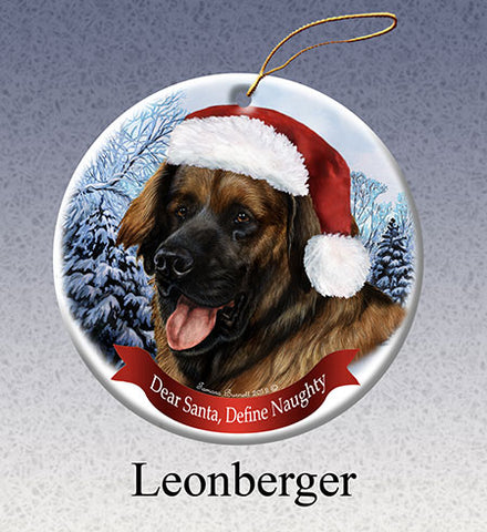 dear santa, leonberger ornament