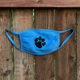 Paw Print Cotton Face Mask - lt. blue