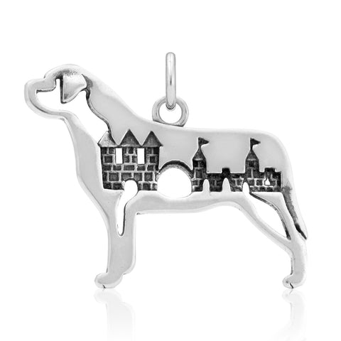 """Sterling Silver Mastiff Pendant, w/Castle in Body"""