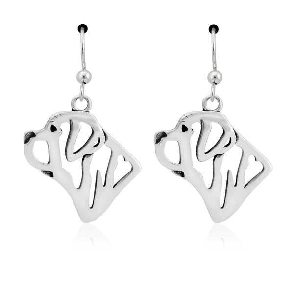 """Sterling Silver Mastiff Head Earrings"""