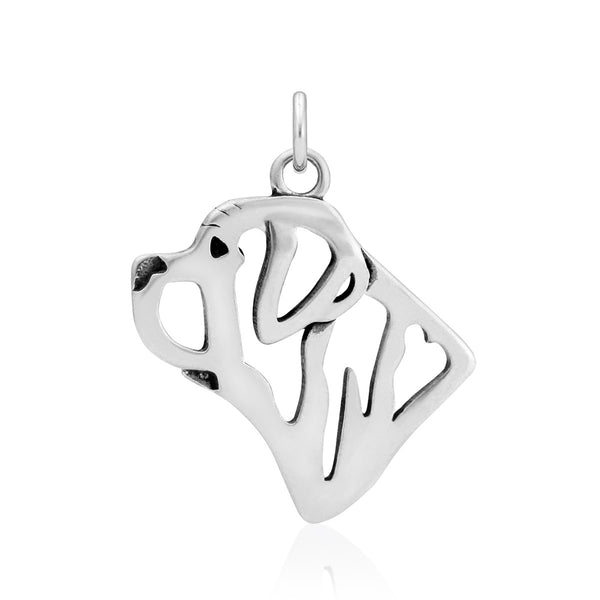 """Sterling Silver Mastiff Head Pendant"""