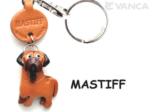 """Three Dimensional Leather Mastiff Keychain"""