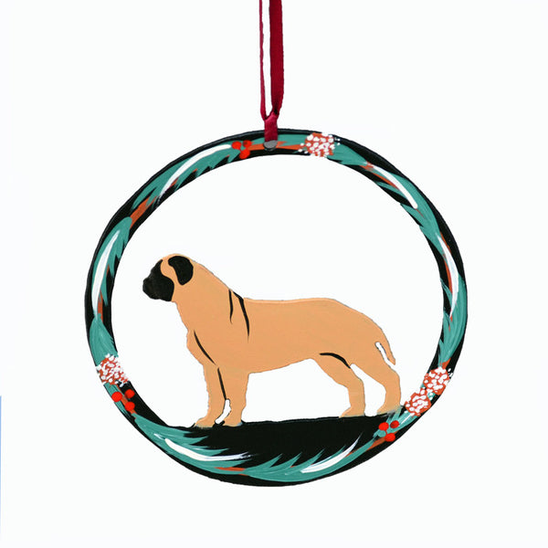 """Hand Painted Bullmastiff Metal Ornament"" - Fawn"