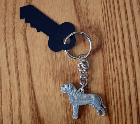 Antiqued Pewter Mastiff Keychain