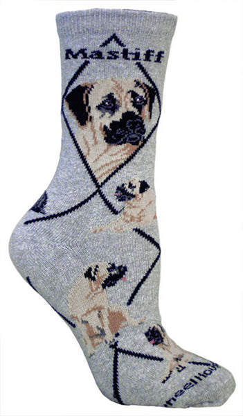 Mastiff Socks on Gray