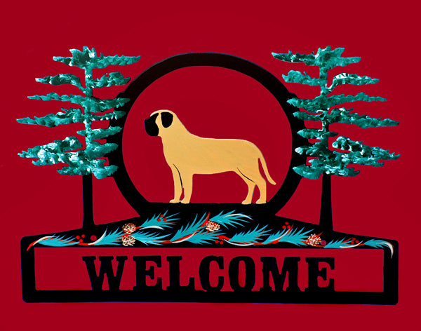 Hand Painted Mastiff Welcome Sign - Fawn