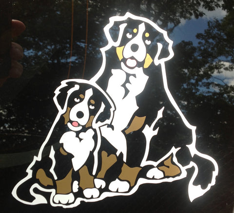 """Two Bernese"" Decal for Tinted Glass"