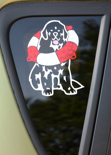 """Newf with Life Ring Decal For Tinted Glass"""