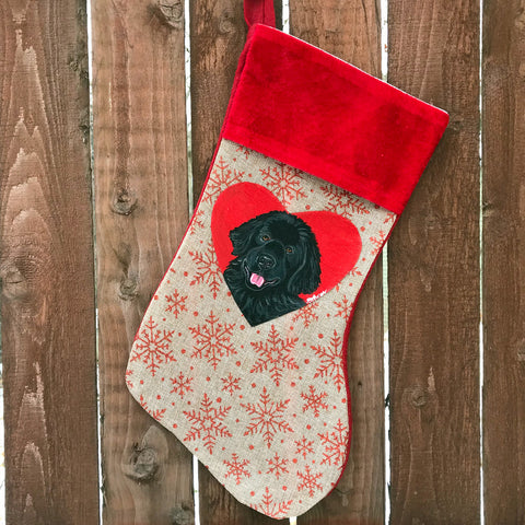 Hand Painted Newfoundland Christmas Stocking