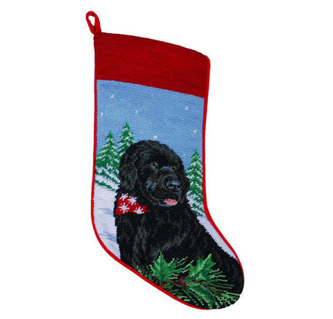 Neddlepoint Newf Christmas Stocking