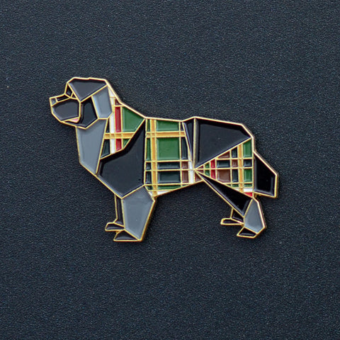 Newfoundland Dog Origami Enamel Pin - NEW