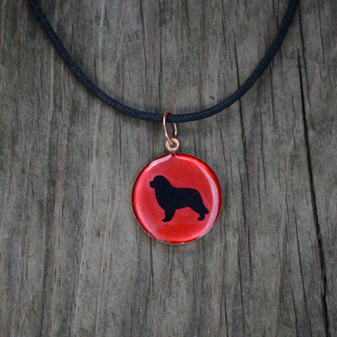 Newfoundland Pendant on Black Cord Necklace