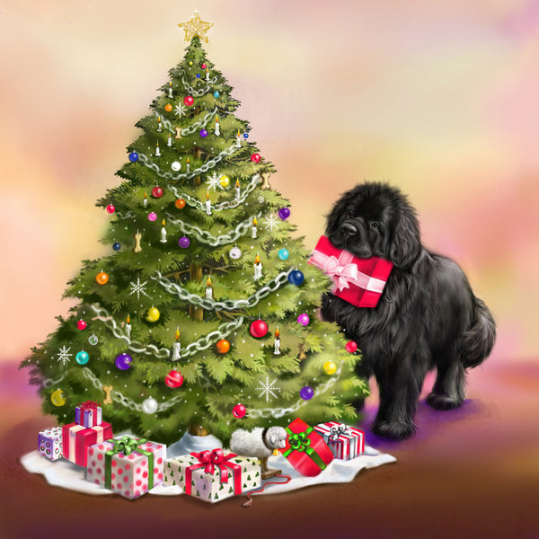 Newf with Christmas tree  - 10 cards