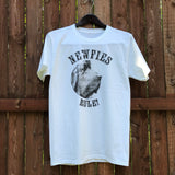 """Newfies Rule"" - white cotton tee - NEW"