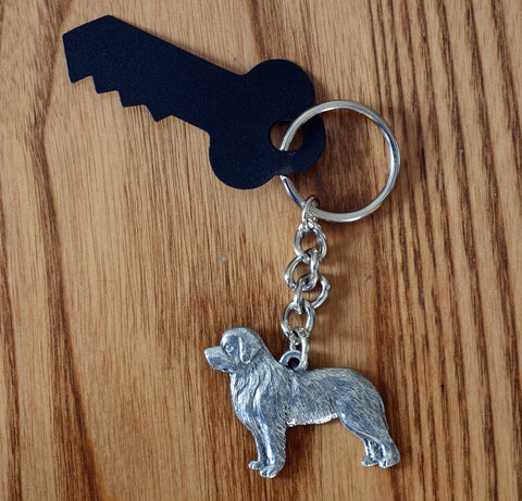 Antiqued Pewter Newfoundland Keychain