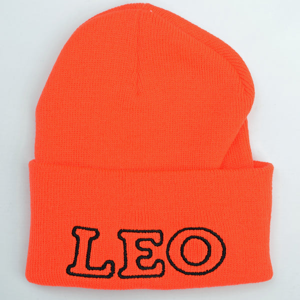 Adult Knit Beanie - LEO, blaze orange