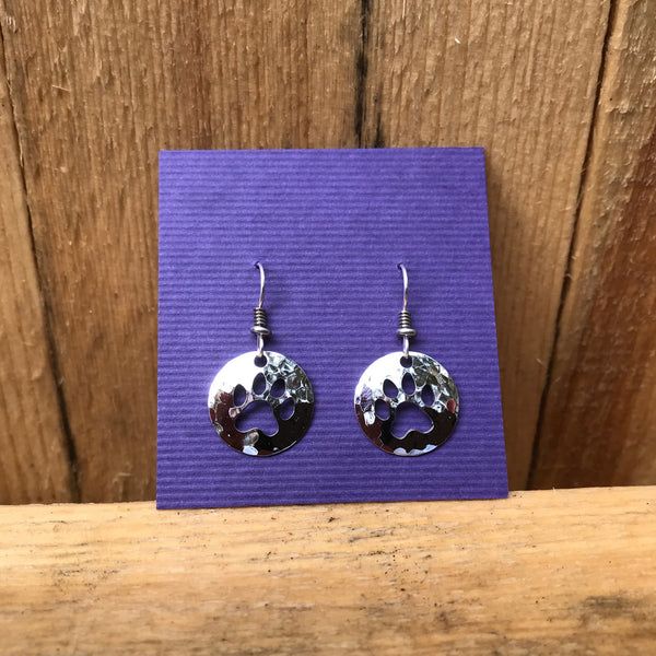 """Paw Print Silver Earrings"" - NEW"