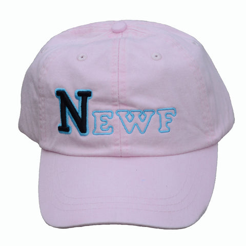 NEWF, embroidered cap - pink & black/blue