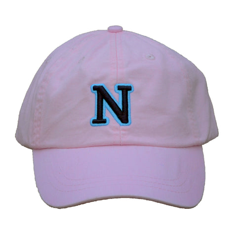 N (for newf), embroidered cap - pink & black/blue
