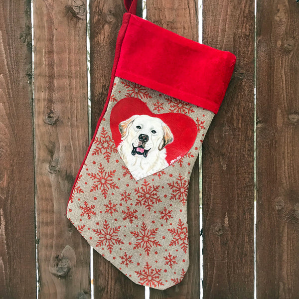 Hand Painted Pyrenees Christmas Stocking