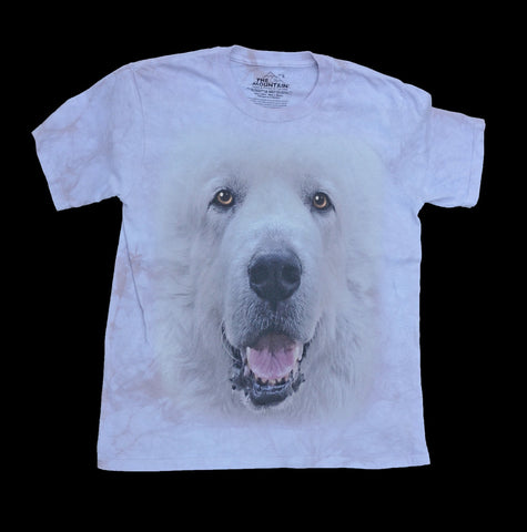 """Great Pyrenees Big Face T-shirt in Adult Sizes"" - Stone Dust"