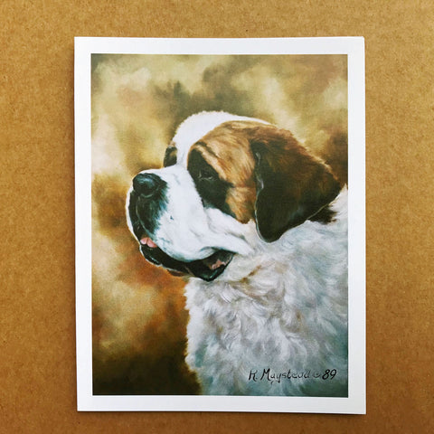 Saint Bernard Blank Note Cards - facing left