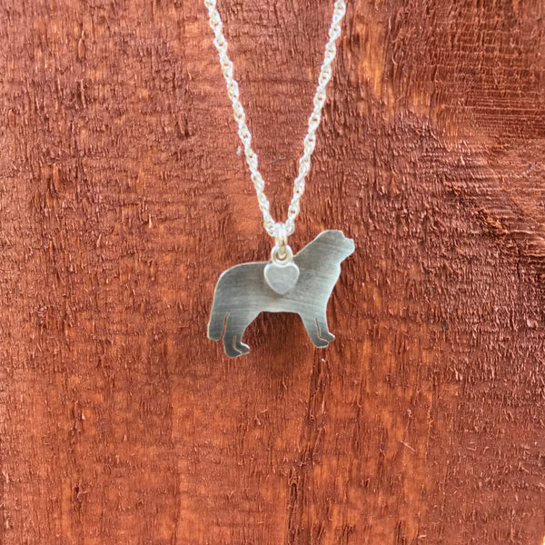 """Sterling Silver Saint Bernard Pendant and 18"" Chain"""