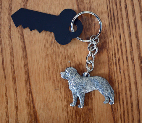 Antiqued Pewter St. Bernard Keychain