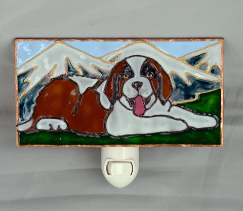 """Stained Glass Saint Bernard Night Light"""
