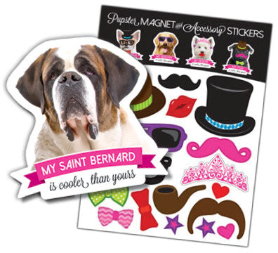 Saint Bernard Pupster Magnet & Accessory Stickers