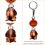Three Dimensional Leather Saint Bernard Keychain