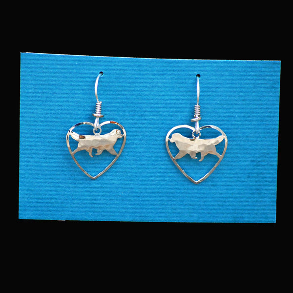 Heart Shaped Silver Newf Earrings